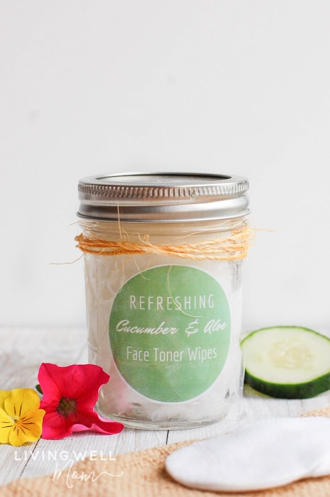 homemade face toner wipes with cucumber