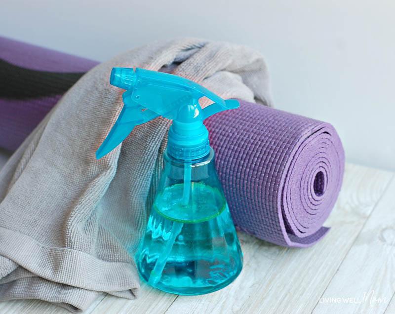 Easy DIY refreshing yoga mat spray with essential oils