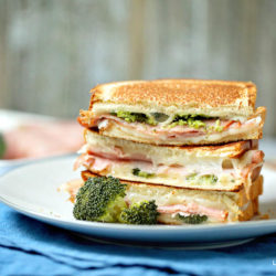 Grilled Cheese, Ham, and Broccoli Sandwich