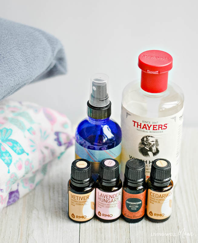 ingredients for homemade relaxing pillow spray