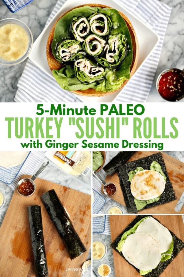 Paleo turkey sushi rolls with ginger sesame dressing
