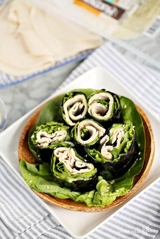the paleo turkey sushi with ginger sesame dressing in a bowl