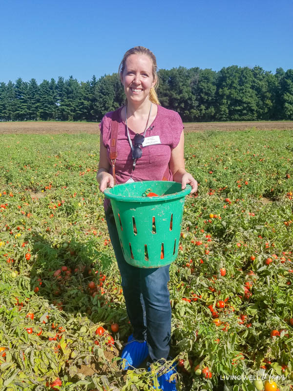 Erika Bragdon standing in front of a tomato field