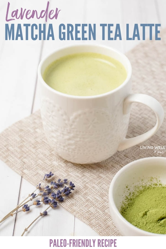 lavender green tea matcha latte recipe - paleo, dairy-free, sugar-free, fast, quick and easy