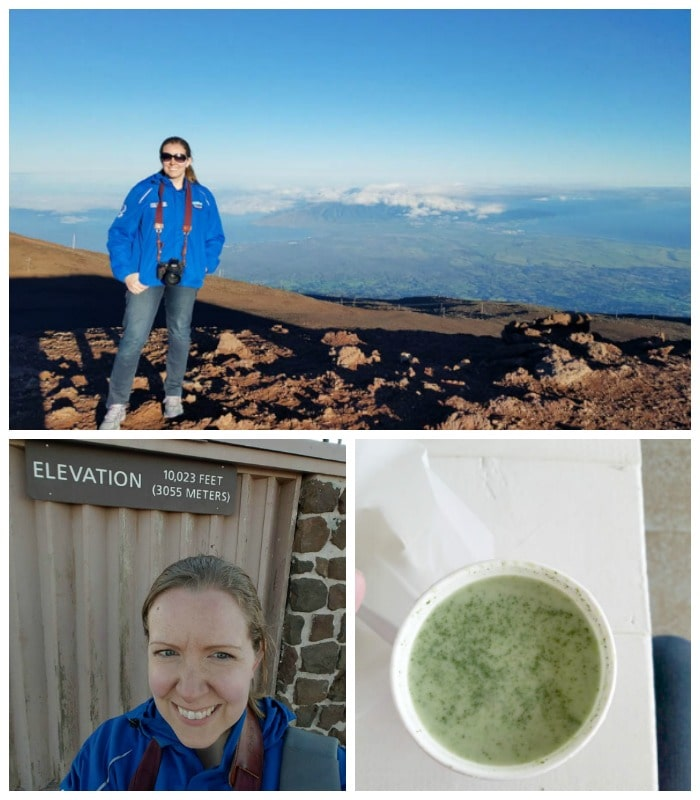 Erika Bragdon posing for a photo in Hawaii and  Lavender Matcha Green tea Latte
