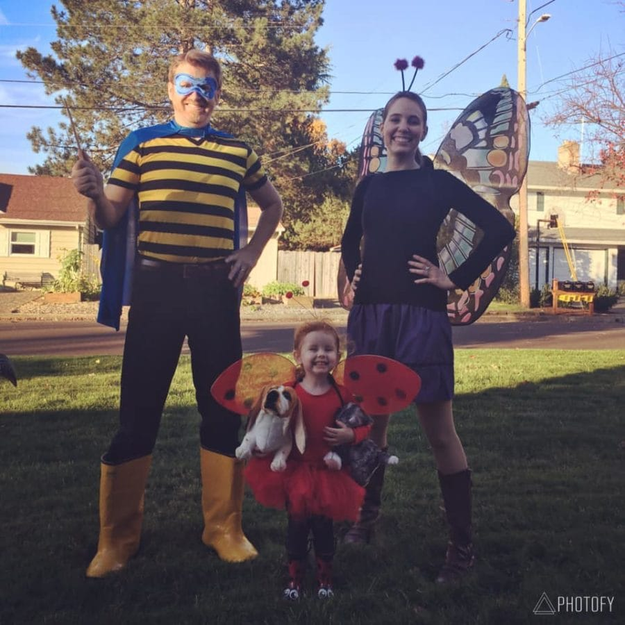 Family dressed in autism-friendly halloween costumes