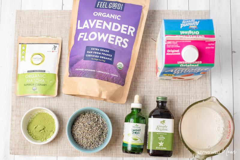 ingredients for Lavender Matcha Green tea Latte