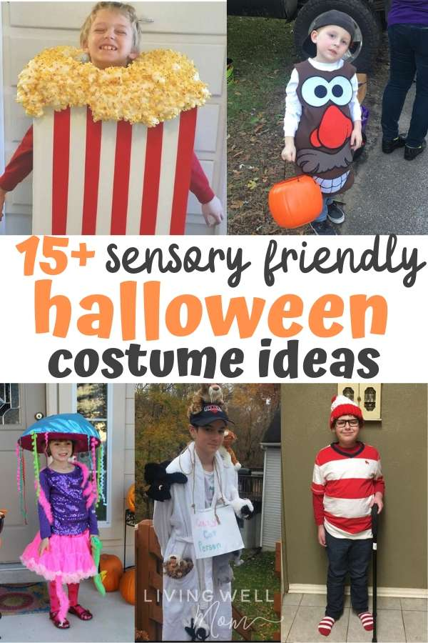 collage of sensory friendly Halloween costume ideas