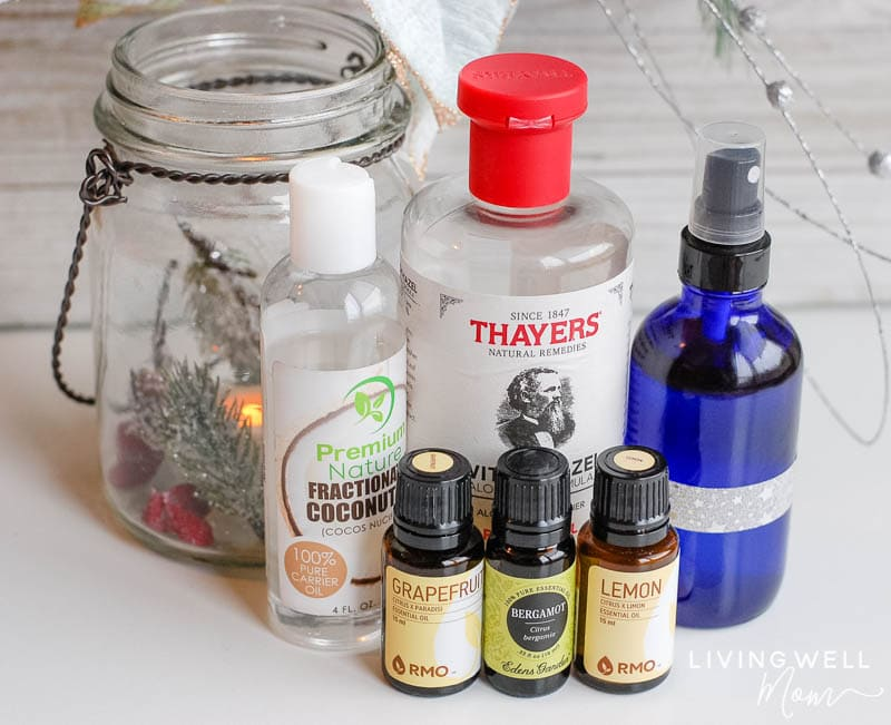 """ingredients to make a \""""cheerful\"""" essential oil spray"""