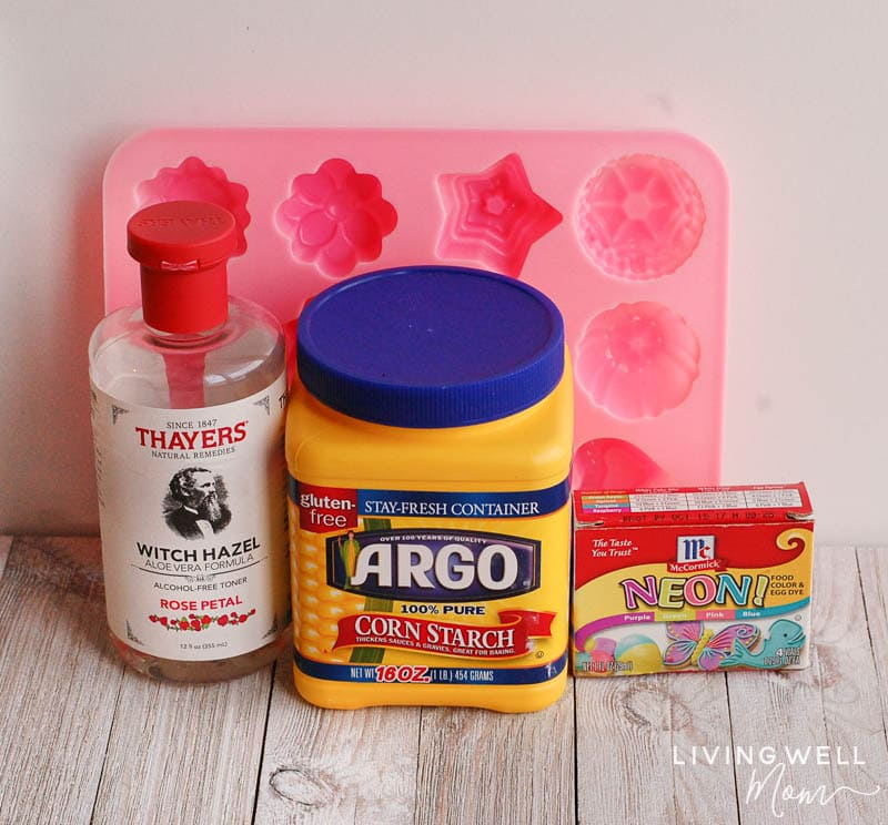 a mold, Witch Hazel, corn starch, and neon di