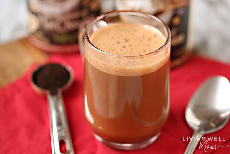 foaming homemade mocha latte with cocoa