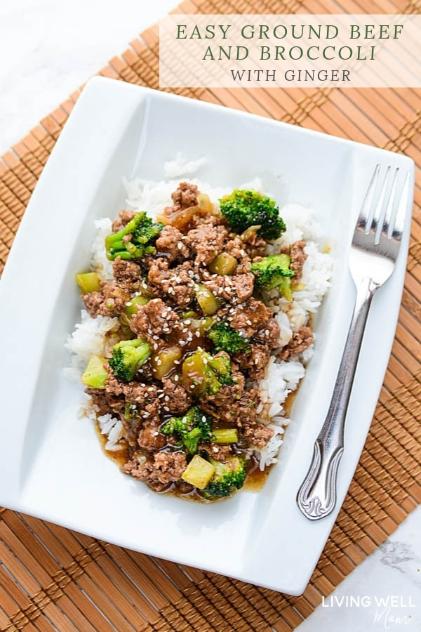 ginger ground beef and broccoli recipe on a white plate with a fork