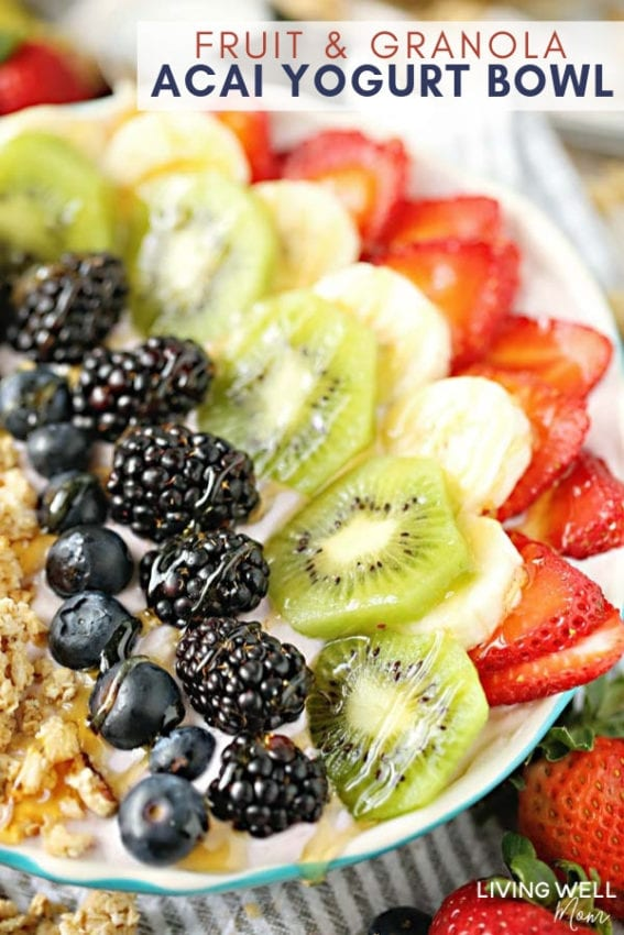 acai fruit granola and yogurt bowl