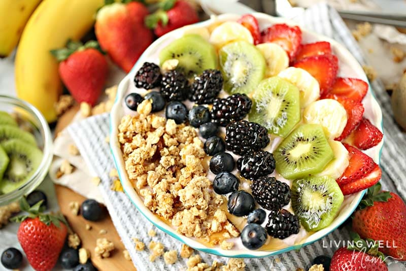 rainbow acai yogurt bowl recipe with granola fruit and yogurt