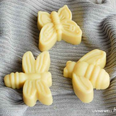 insect repellent soap in the shapes of a dragonfly, a bumblebee, and a butterfly