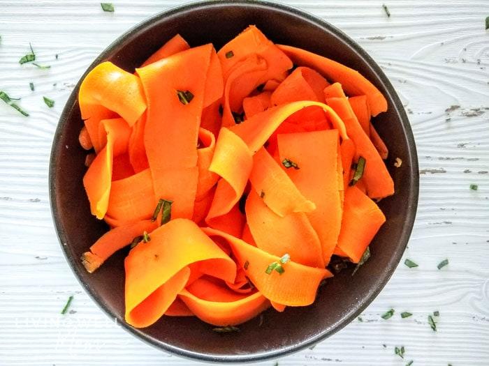 carrot spaghetti in a bowl