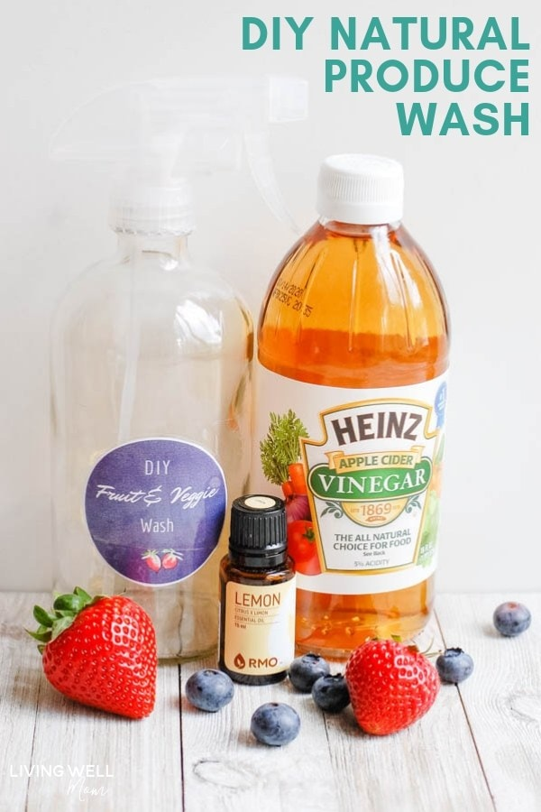Homemade produce wash with vinegar and essential oil.