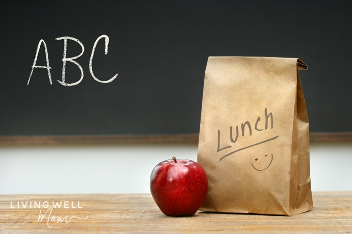 chalkboard with ABC, apple, and gluten-free school lunch for kids