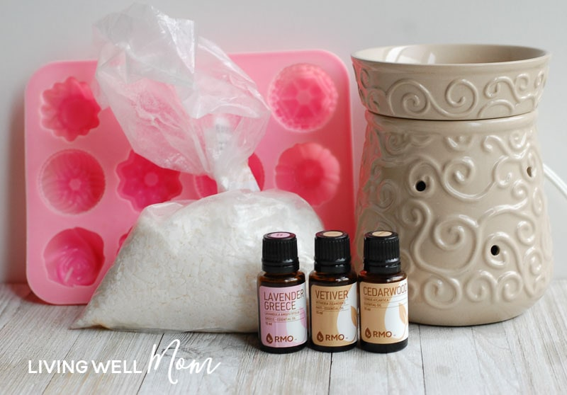 DIY homemade wax melt ingredients - soy wax and essential oils