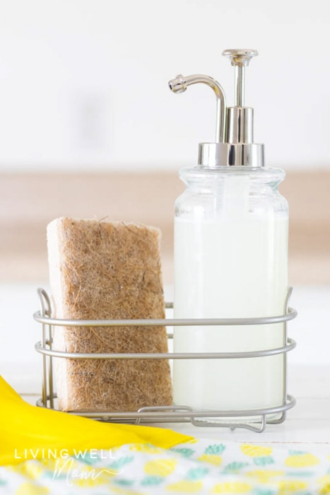 homemade dish soap with a sponge