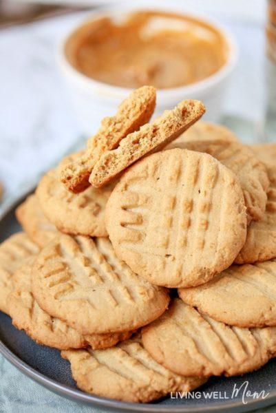 plate of gluten free peanut butter cookies