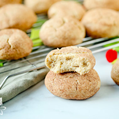 close-up of gluten free snickerdoodle cookies