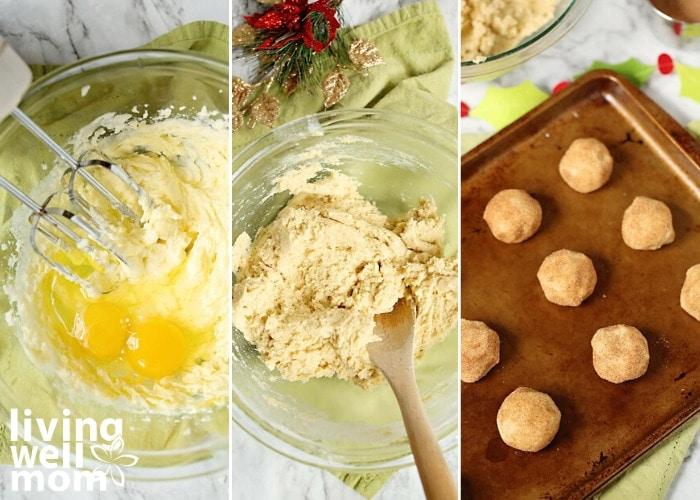 making gluten-free snickerdoodle cookies