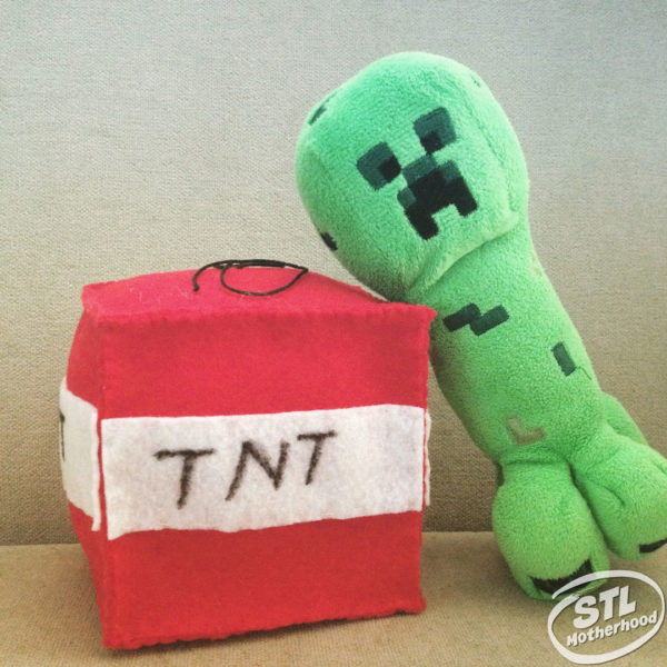 plush homemade minecraft toy creeper with tnt