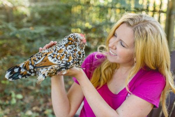 Erika Bragdon holding a chicken