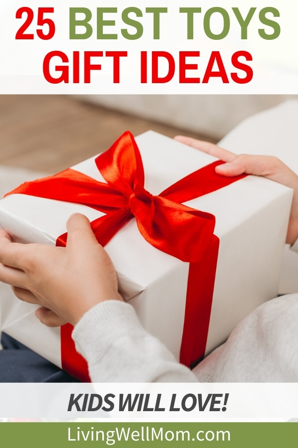 best toy ideas child opening white wrapped gift with red ribbon