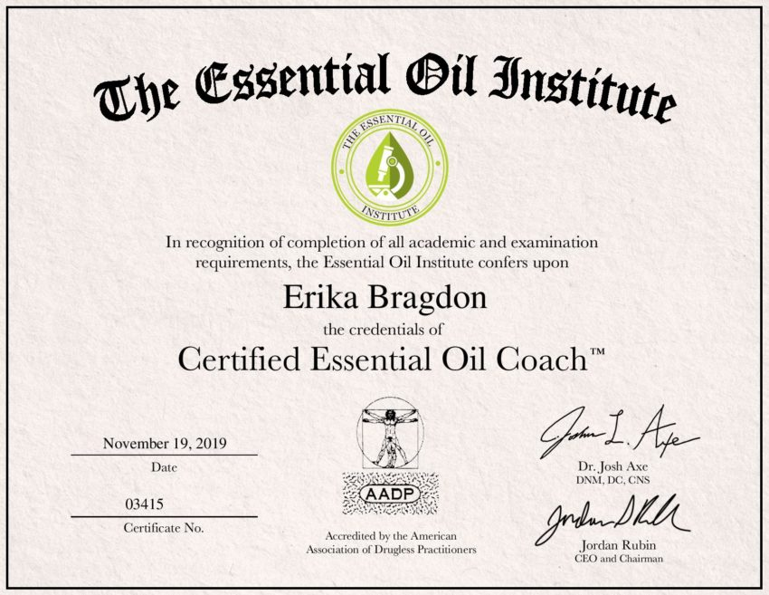 Certified Essential Oil coach diploma