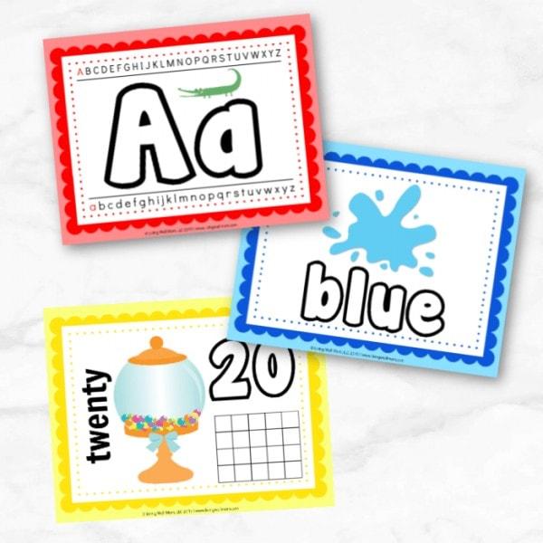 educational colorful printable playdough mat set
