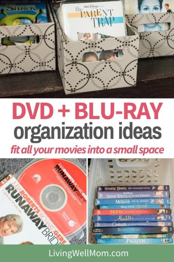 collection of images on how to organize dvds and blu ray discs into a small space
