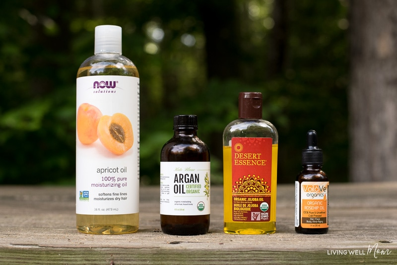 apricot, argan oil, jojoba oil, and rosehip carrier oils
