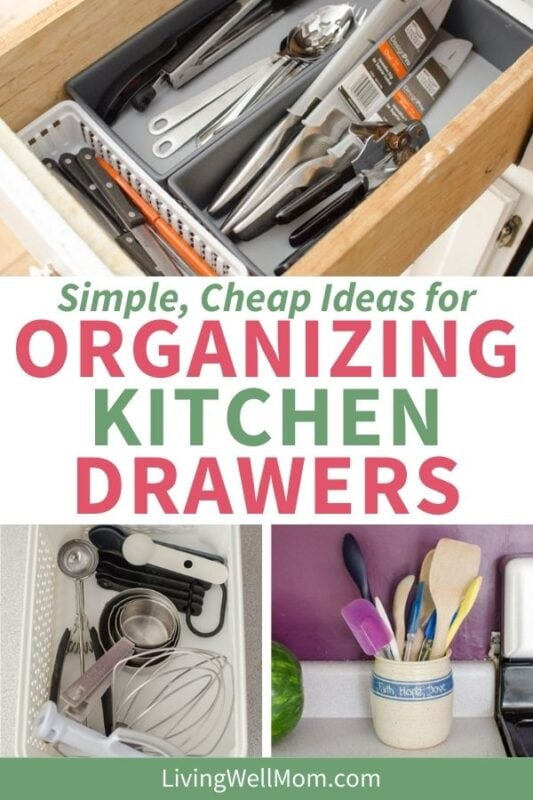 simple, cheap ideas for organizing kitchen drawers pin image