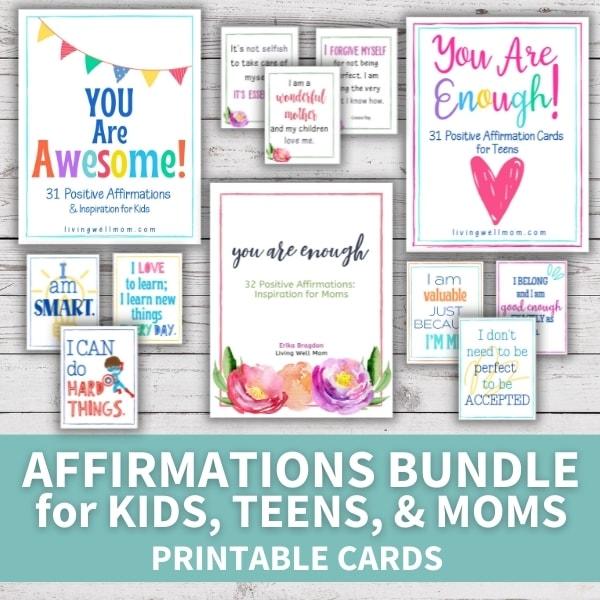 layout of printable affirmation cards bundle for kids, teens, moms