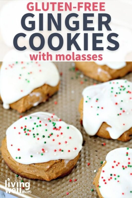 pinterest image for gluten-free ginger cookies with molasses