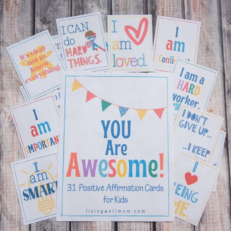 Colorful printed affirmations for children