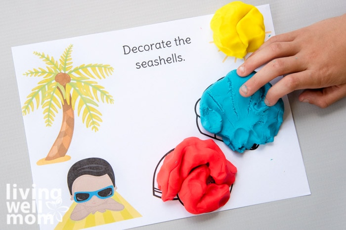 seashell themed printable activity mat