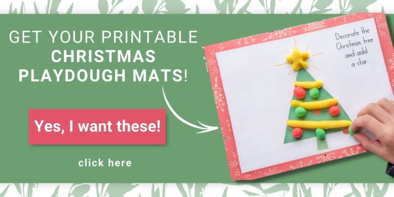 sample layout of Christmasprintable play dough mats for kids on green background