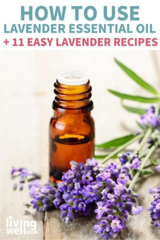 brown essential oil bottle next to lavender stems