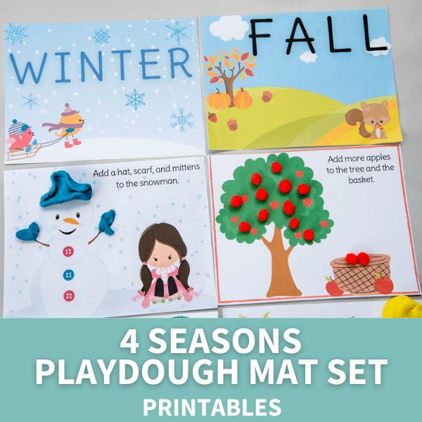 4 seasons playdough mat set for kids
