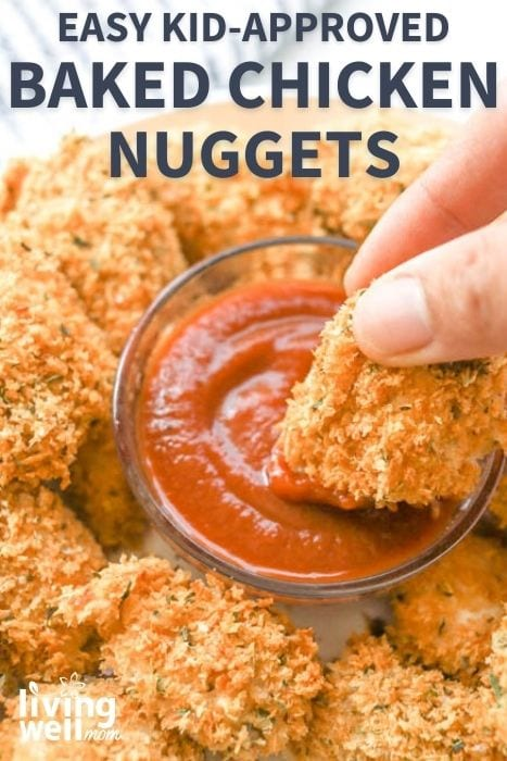 dipping baked chicken nuggets into red sauce