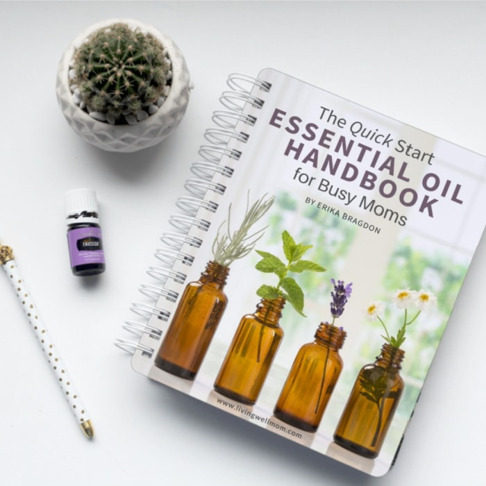spiral essential oil handbook on white background with cactus and essential oil bottle