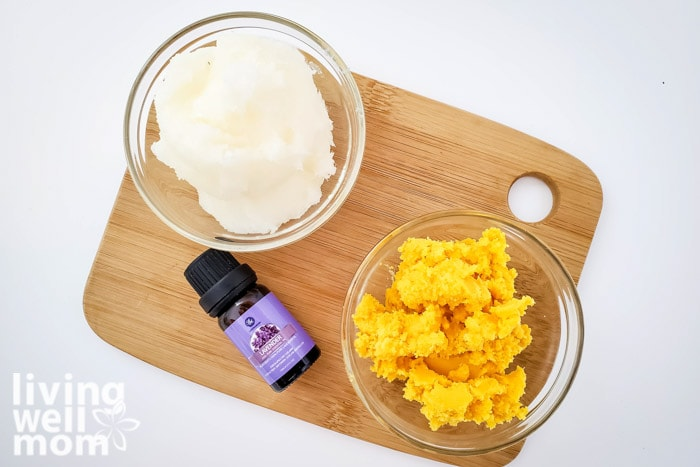 Ingredients for DIY body lotion including shea butter, coconut oil and lavender essential oil.