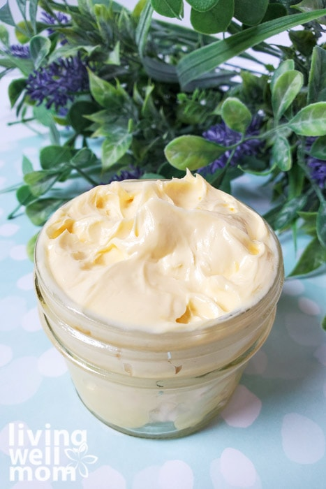 A close up of whipped DIY lavender sleep creams.