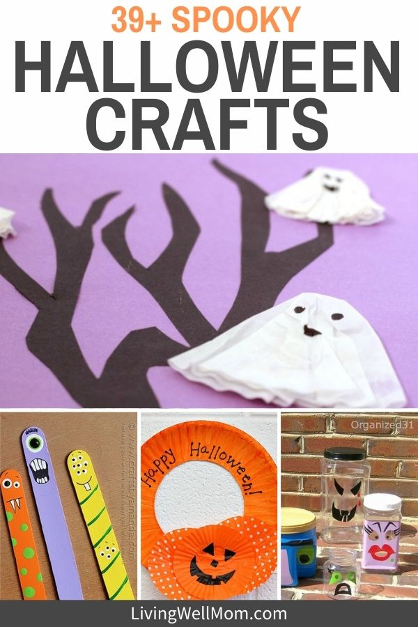 collage of different craft projects for halloween - paper ghost, painted pots, and monster popsicle sticks, pumpkin wreath