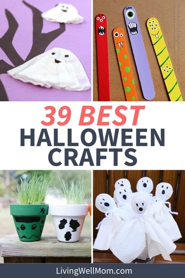 collage of different craft projects for halloween - paper ghost, painted pots, and monster popsicle sticks