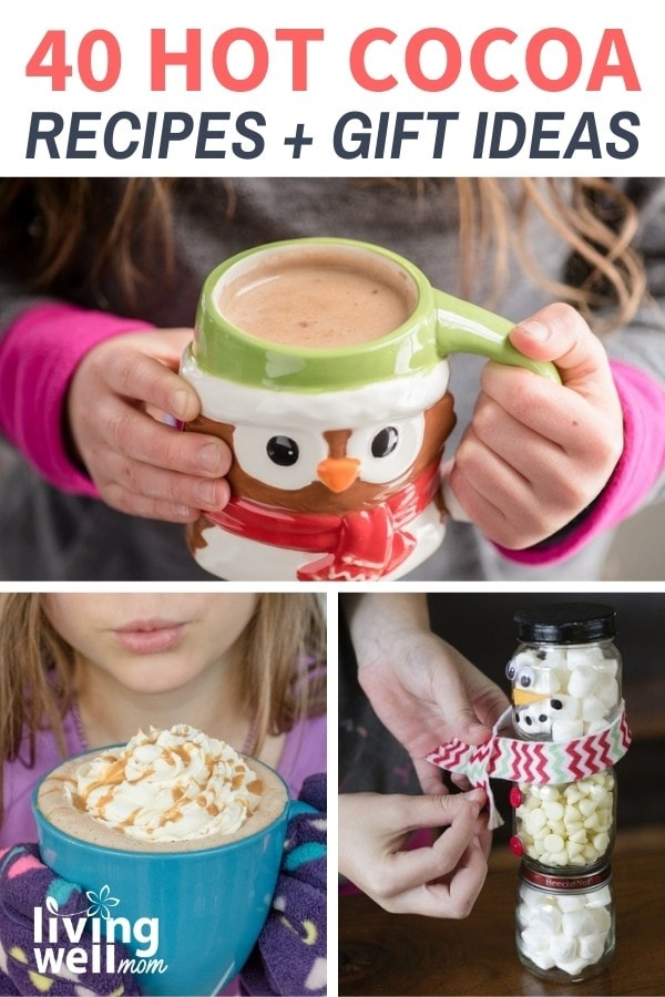 collage of hot cocoa mugs