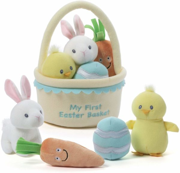 my first plush easter basket with bunnies and chicks